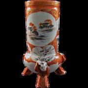 SALE Japanese Antique Kutani Porcelain Hairpin Holder with Karako Tripod Feet