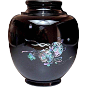 SALE Lacquered Wood Vase with Inlaid Abalone Shell Decoration of Japanese Taiko and Sakura