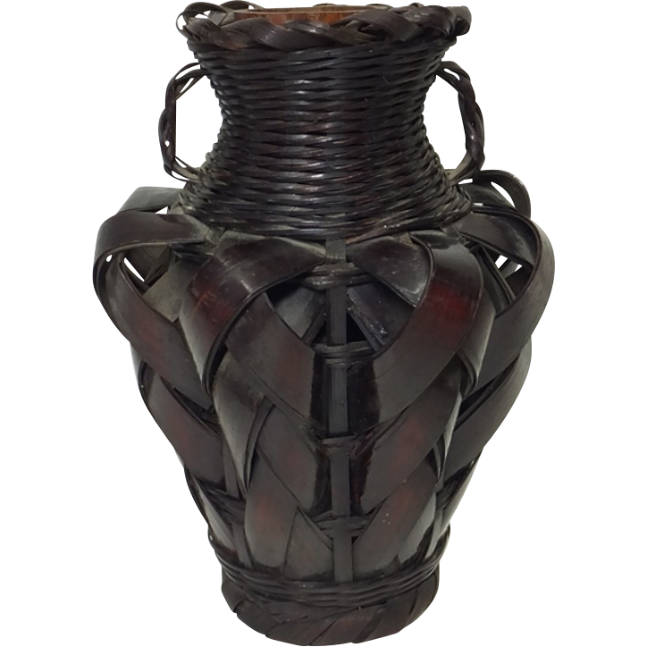 Japanese vintage hanakago or bamboo basket vase stained for Deco pour vase transparent