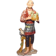 Japanese Vintage Banko or Majolica Okimono, Ornament or Statue of Monkey Trainer