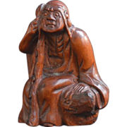 SALE Old Netsuke of a  Monk and his Walking Stick