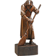 SALE Beautiful Carved Wood Statue of a Woman with Broom