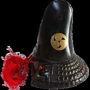 SALE Japanese Antique Ornament of a Samurai Kabuto Helmet with the Asahina Shogunate Crest