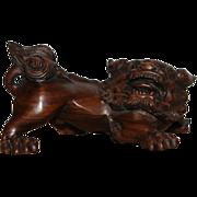 SALE Japanese Vintage Wood 根付 Netsuke of a Recumbent Foo Dog