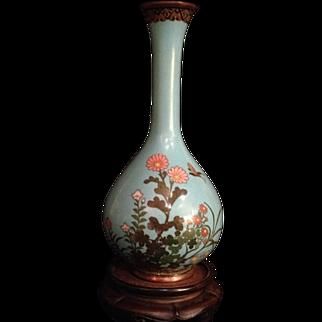 Very Fine Japanese Antique Silver Wire Enameled Cloisonne Turquoise Blue Tsurukubi-hanaire Vase