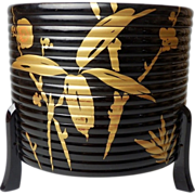 SALE Japanese Vintage Lacquered Wood and Gold Maki-e (蒔絵) Kashiki/ Lidded Tea Ceremony ...