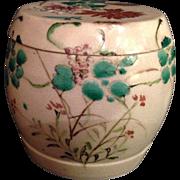 Japanese Antique Kiyomizu Earthenware Rare Lidded Box of a Drum by Famous Kinkozan
