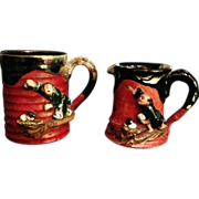 Japanese Antique Sumida gawa yaki Set Mug and Creamer