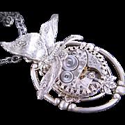 Clockwork Necklace Steampunk Butterfly Silver Butterfly Necklace