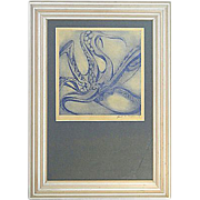 SOLD Blue Octopus Serigraph by Janet Morgan, 1976 - Red Tag Sale Item