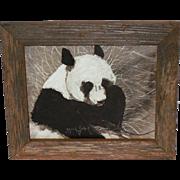 SALE Panda Oil Painting by Alfred Zeller C. 1960