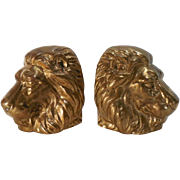 SOLD Massive Cast Brass Lion Head Bookends
