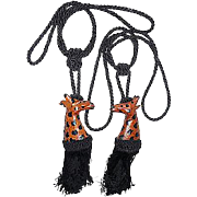 Pair of Sculpted Leather Giraffes Curtain Tiebacks