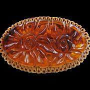 SALE 1/2 OFF Large Unique Bakelite Carved Open Pierced Flower Brooch