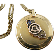 SOLD 50% OFF Pacific Bell 32 year award pendant, gold filled.