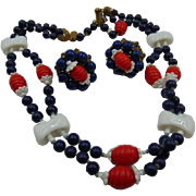 SALE Miriam Haskell Red/White/Blue Glass Necklace & Earrings