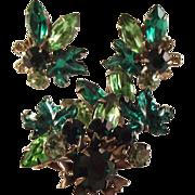 SALE 1/2 off Vintage Rhinestone Leaf/brooch/clip Earrings