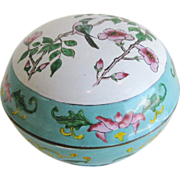 SALE Fine Chinese Cloisonne/Enamel Round Covered Box w/Floral bird Motif