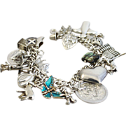 REDUCED Sterling Heavy Charm Bracelet 26 Charms