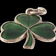 SALE Wells Sterling Guilloche Enameled Irish Shamrock charm