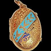 SALE Victorian Gold-Filled enameled Locket