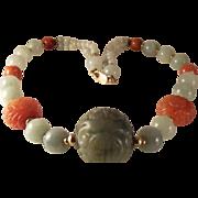 SALE 14K Carved Jade Jadeite Carnelian Beads Necklace