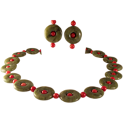 SALE Vtg Chinese Green Nephrite Jade Donuts Coral Sterling Necklace~ Earrings