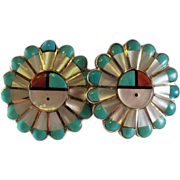 Vintage Sterling Silver Zuni Sun God Inlay Turquoise And Coral Earrings