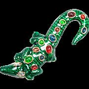 SALE Kenneth Jay Lane Enameled Alligator Brooch
