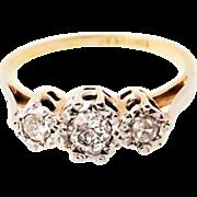 SALE Fine Art Deco 18k & platinum three stone 1/4 carat  Diamond ring