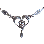 Sterling Am Lee Filigree Heart Necklace w/ crystals