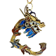 Chinese Export Gilded Silver  Enamel Dragon Pendant