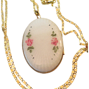 REDUCED Vintage Evans Co 24K gf  Finish guilloche Locket with 23 inch chain