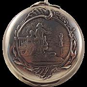Fabulous French 800-900 silver art nouveau compact pendant