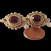 REDUCED Large Vintage 14k Garnet seed Pearl Earrings