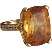 SALE Vintage 14k Gold Madeira Citrine Ring with diamond accents