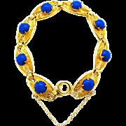 SALE 60% OFF Czechoslovakia Blue Glass Cabochon Gold tone Panel Bracelet