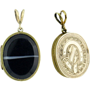 SALE Victorian Era Banded Agate GF Buckle Locket