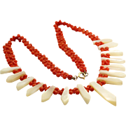 SALE Vintage 9k Coral Carved MOP 3mm Necklace