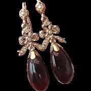 SALE Victorian style 6 carat Garnet & seed Pearl ribbon & bow gold earrings
