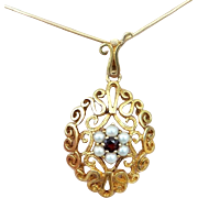REDUCED STORE WIDE 9k large Garnet seed Pearl gold pendant with chain