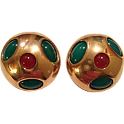 SALE CLEARANCE STORE WIDE Hattie Carnegie Signed  Green Red Cabochon Clip Earrings