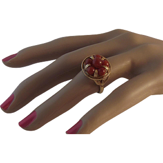SALE STORE WIDE Ming's 14K Red Jade Ring with original box