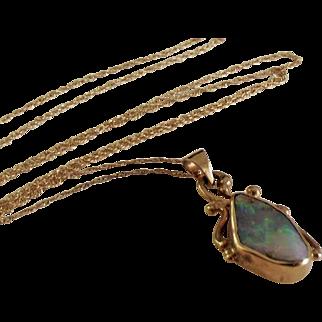 SALE STORE WIDE 14K Australian Boulder Opal Pendant Necklace