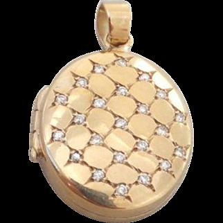 Stunning heavy 57 point Diamond encrusted gold locket pendant