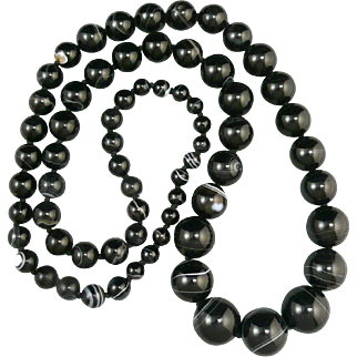 """Banded Agate  Graduated Bead Necklace 36"""""""