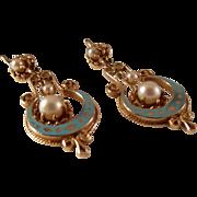 SALE Victorian Style 14K Pearl Dangle pierced Earrings