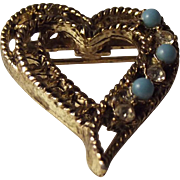 SALE Vintage Cerrito signed heart brooch