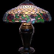 SALE Antique Handel Leaded Glass Table Lamp