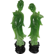 "SOLD Vintage WONY Faux Jade Kwan Yin Quan Yin With Lotus 11"" Figurines"